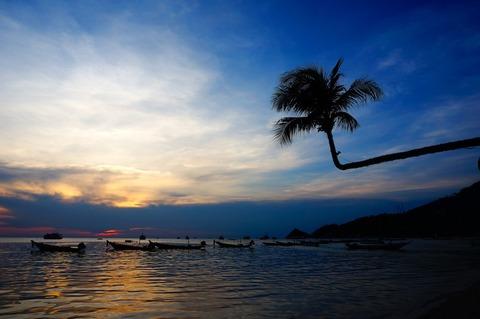 <タオ島旅行2016春その15>サイリービーチの曲がったヤシの木とサンセット〜♪